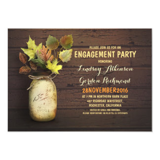 Fall leaves mason jar rustic engagement party 5x7 paper invitation card
