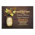 Fall leaves mason jar rustic engagement party invites