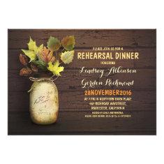 Fall leaves mason jar rustic rehearsal dinner invite