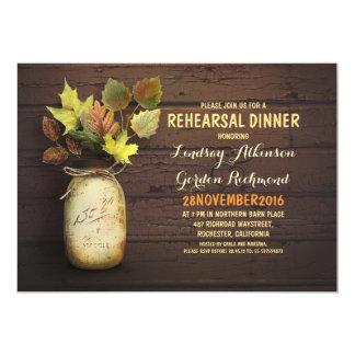 Fall leaves mason jar rustic rehearsal dinner 5x7 paper invitation card
