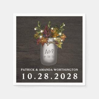 Fall Leaves Mason Jar Rustic Wedding Napkins