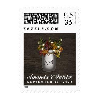 Fall Leaves Mason Jar Rustic Wedding Stamps
