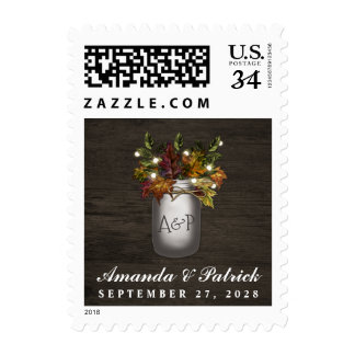 Fall Leaves Mason Jar Rustic Wedding Stamps