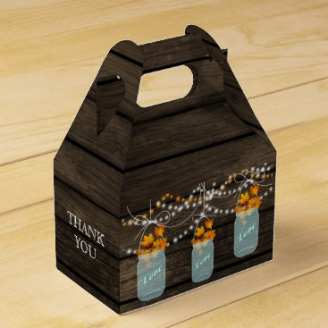 fall leaves mason jar wedding favor box