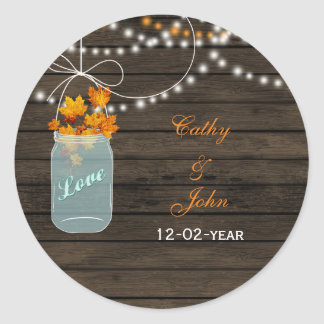 fall leaves mason jar wedding favor stickers