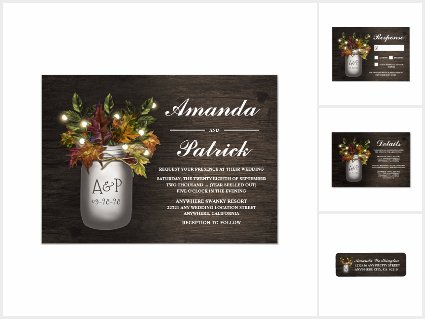 Fall Leaves Mason Jar Wedding Invitations Set