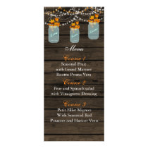 fall leaves mason jar wedding menu cards