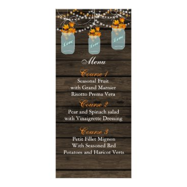 fall leaves mason jar wedding menu cards