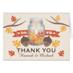 FALL LEAVES MASON JAR WEDDING THANK YOU GREETING CARD
