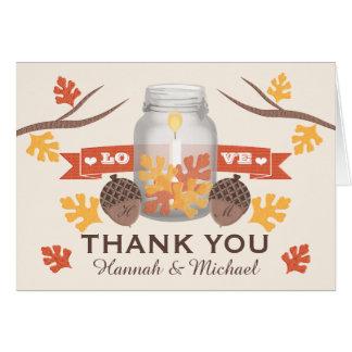 FALL LEAVES MASON JAR WEDDING THANK YOU STATIONERY NOTE CARD