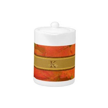 Halloween Themed Fall Leaves Monogram Teapot