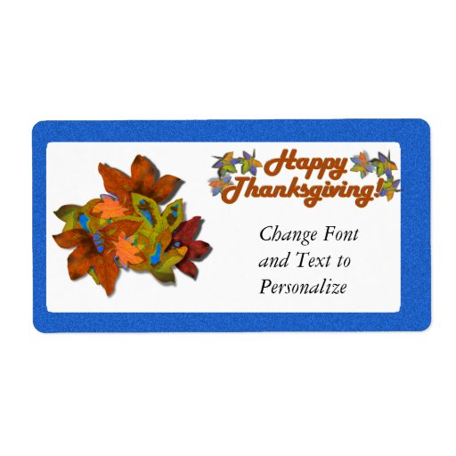 Fall Leaves on Blue Shipping Labels