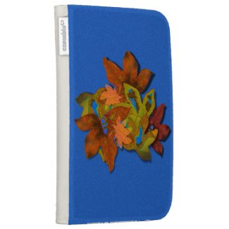Fall Leaves on Blue Textured Background Kindle Keyboard Covers
