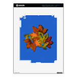 Fall Leaves on Blue Textured Background iPad 3 Decal