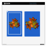 Fall Leaves on Blue Textured Background Kindle Fire Decals