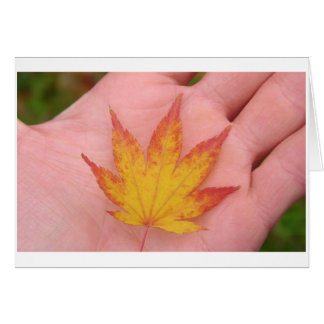 Fall leaves on hand card