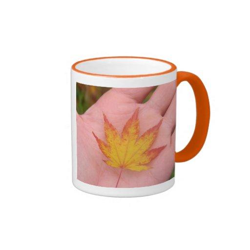 Fall leaves on hand ringer mug