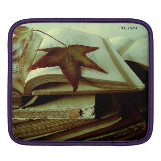 fall leaves on old books iPad sleeve
