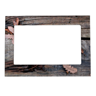 Fall Leaves on Old Wood Magnetic Photo Frame