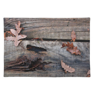 Fall Leaves on Old Wood Place Mats