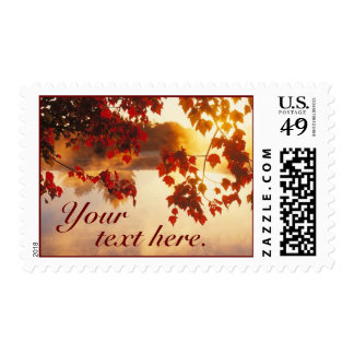 Fall Leaves on Pond Postage Stamp