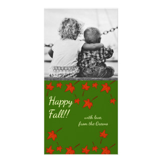 Fall Leaves: Orange Leaf, Customized Photocard Card
