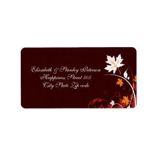 Fall leaves orange red white brown wedding label