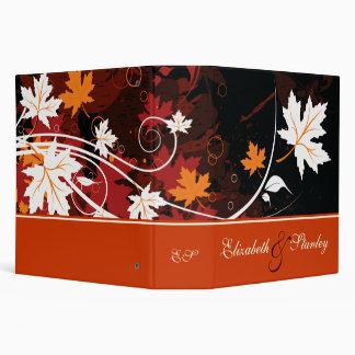 Fall leaves orange red white brown wedding planner 3 ring binder