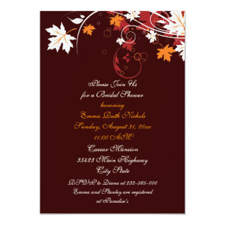 Fall leaves orange red white wedding bridal shower card
