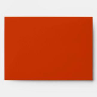 Fall leaves orange red white wedding envelope