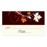 Fall leaves orange red white wedding place card business card template