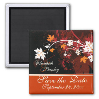 Fall leaves orange red white wedding Save the Date 2 Inch Square Magnet