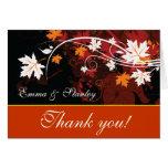Fall leaves orange red white wedding Thank You Greeting Card