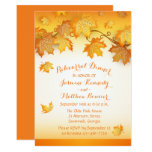 Fall Leaves Orange Wedding Rehearsal Dinner Rustic Card