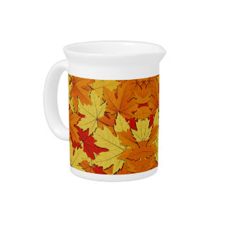 Fall Leaves Pattern Autumn Themed Pitcher