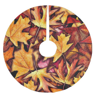 Fall leaves Pattern Brushed Polyester Tree Skirt