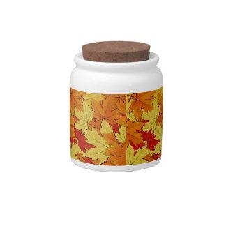Fall Leaves Pattern Candy Jar