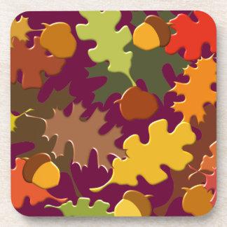 Fall Leaves Pattern Design Beverage Coasters