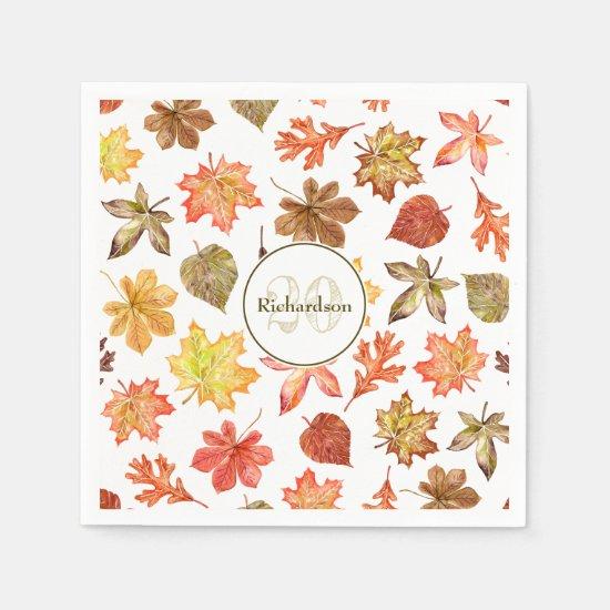 Fall leaves pattern family name napkins
