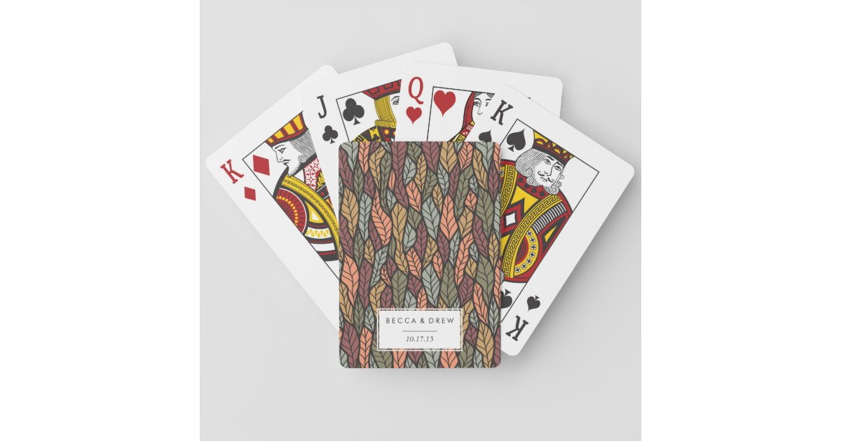 Fall Leaves Pattern Wedding Favor Playing Cards