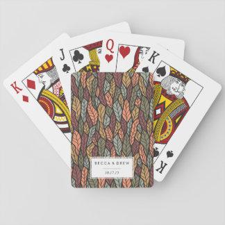 Fall Leaves Pattern Wedding Favor Poker Deck
