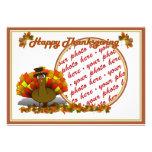 Fall Leaves & Pilgrim Turkey  Photo Frame Custom Invitations