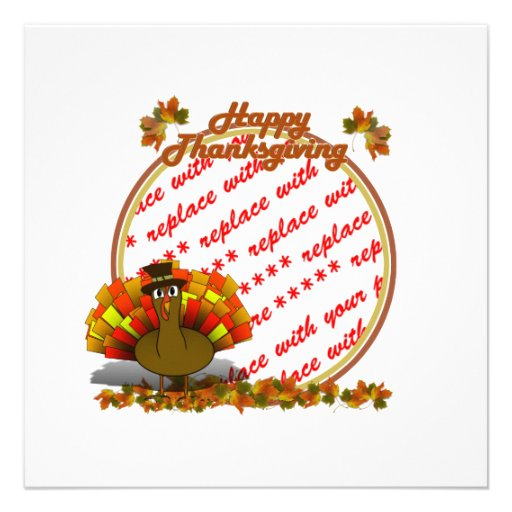 Fall Leaves & Pilgrim Turkey  Photo Frame Personalized Announcement