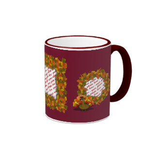 Fall Leaves & Pilgrim Turkey  Photo Frame Mugs