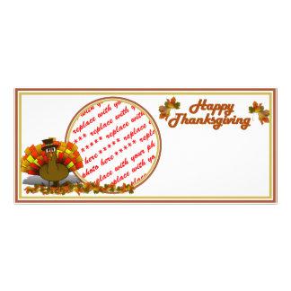 Fall Leaves & Pilgrim Turkey  Photo Frame Custom Rack Cards