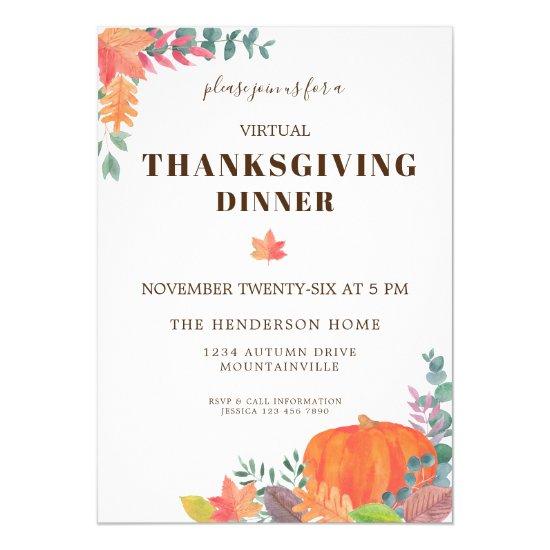 Fall Leaves Pumpkin Virtual Thanksgiving Dinner Invitation