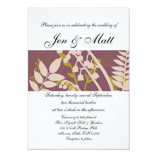 Fall Leaves Purple Yellow Gray Wedding Invitations
