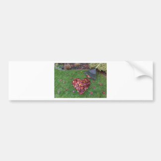 Fall Leaves Raked into Heart Shape on Green Grass Bumper Sticker