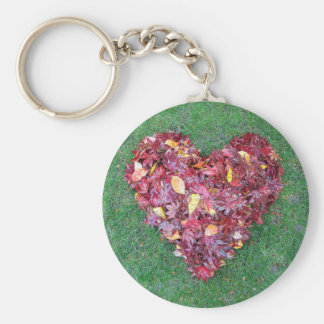 Fall Leaves Raked into Heart Shape on Green Grass Keychain