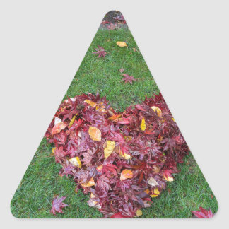 Fall Leaves Raked into Heart Shape on Green Grass Triangle Sticker